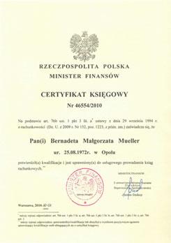 Certyfikat Ministerwa Finansów - kliknij by powiększyć